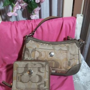 Coach beige signature purse and wallet